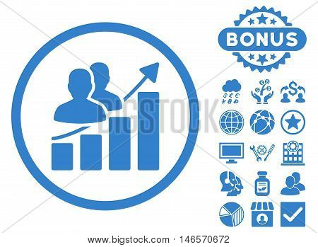 Audience Growth Chart icon with bonus. Vector illustration style is flat iconic symbols, cobalt color, white background.