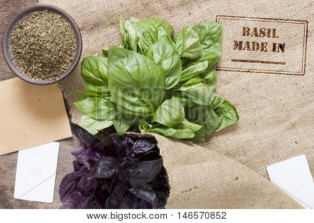 Prints stamp on the fabric: Made in ... for spices - basil. Two beam basil green and purple.