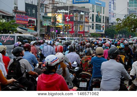 Crowded Asian City In Rush Hour