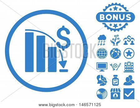 Epic Fail Chart icon with bonus. Vector illustration style is flat iconic symbols, cobalt color, white background.