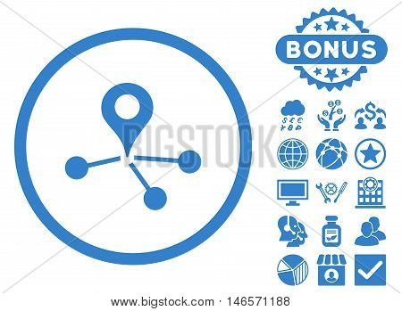 Geo Network icon with bonus. Vector illustration style is flat iconic symbols, cobalt color, white background.