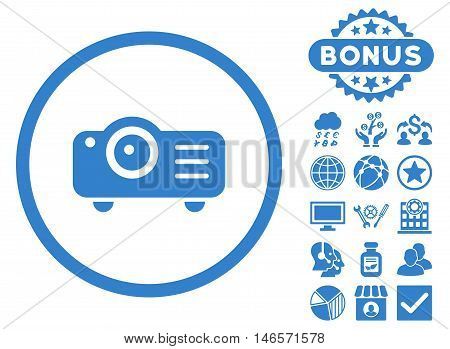 Projector icon with bonus. Vector illustration style is flat iconic symbols, cobalt color, white background.