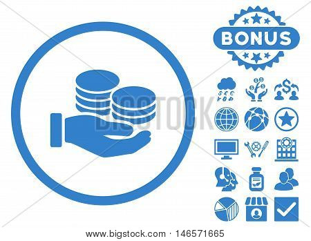 Salary Coins icon with bonus. Vector illustration style is flat iconic symbols, cobalt color, white background.
