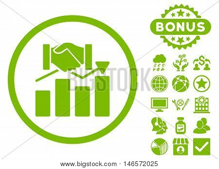 Acquisition Graph icon with bonus. Vector illustration style is flat iconic symbols, eco green color, white background.