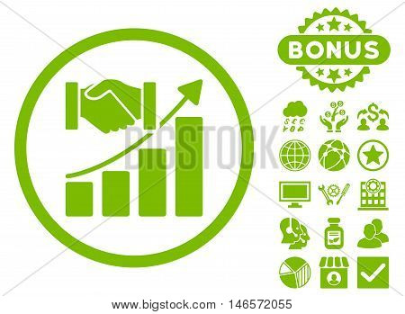 Acquisition Growth icon with bonus. Vector illustration style is flat iconic symbols, eco green color, white background.