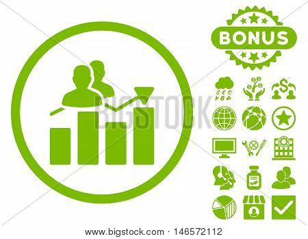 Audience Graph icon with bonus. Vector illustration style is flat iconic symbols, eco green color, white background.
