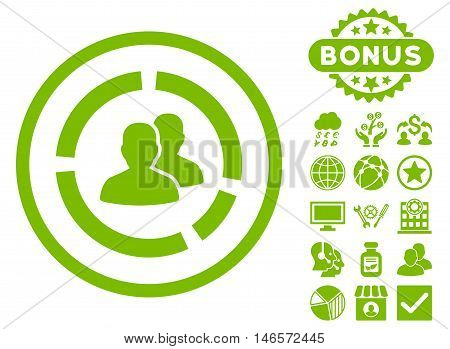 Demography Diagram icon with bonus. Vector illustration style is flat iconic symbols, eco green color, white background.