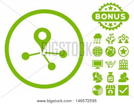 Geo Network icon with bonus. Vector illustration style is flat iconic symbols, eco green color, white background.