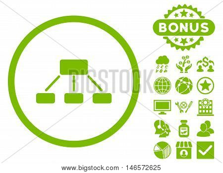 Hierarchy icon with bonus. Vector illustration style is flat iconic symbols, eco green color, white background.