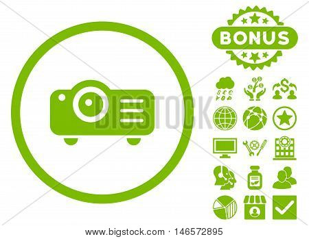 Projector icon with bonus. Vector illustration style is flat iconic symbols, eco green color, white background.