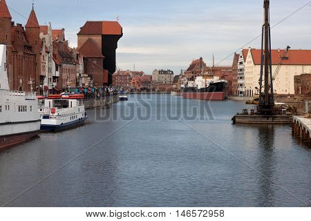 View of Old Town Gdansk with medieval crane  Zuraw on Motlawa River, Gdansk, Poland.