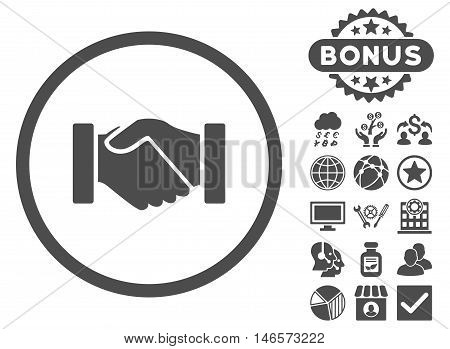 Acquisition Handshake icon with bonus. Vector illustration style is flat iconic symbols, gray color, white background.