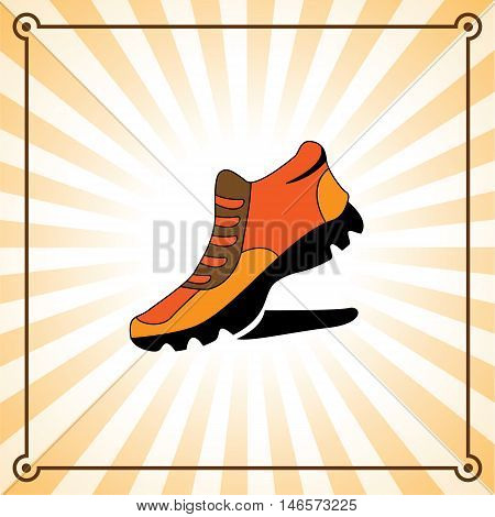 Flat sneaker on a background with rays