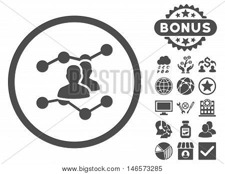 Audience Trends icon with bonus. Vector illustration style is flat iconic symbols, gray color, white background.