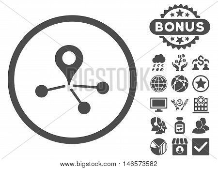 Geo Network icon with bonus. Vector illustration style is flat iconic symbols, gray color, white background.