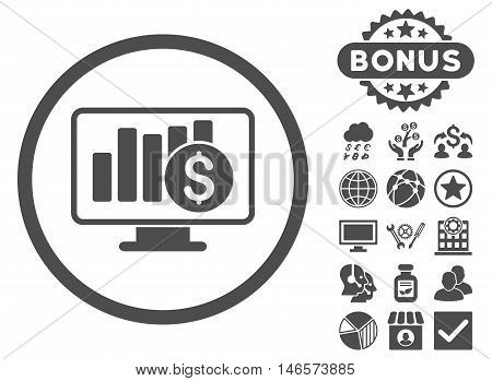 Sales Monitor icon with bonus. Vector illustration style is flat iconic symbols, gray color, white background.