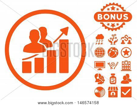 Audience Growth Chart icon with bonus. Vector illustration style is flat iconic symbols, orange color, white background.
