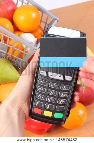 Payment Terminal With Contactless Credit Card, Fruits And Vegetables, Cashless Paying For Shopping
