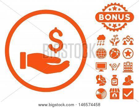 Earnings Hand icon with bonus. Vector illustration style is flat iconic symbols, orange color, white background.