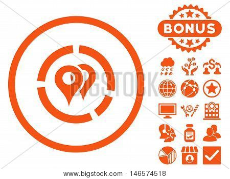 Geo Diagram icon with bonus. Vector illustration style is flat iconic symbols, orange color, white background.