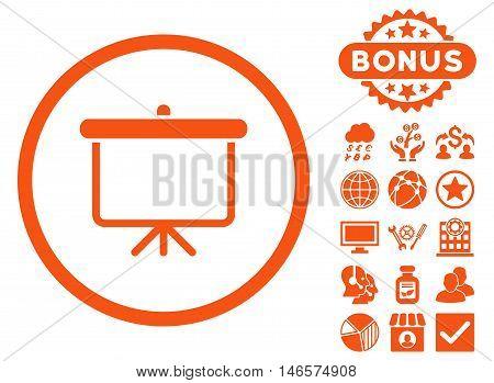 Projection Board icon with bonus. Vector illustration style is flat iconic symbols, orange color, white background.