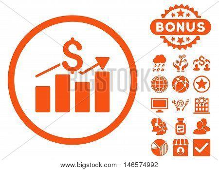 Sales Chart icon with bonus. Vector illustration style is flat iconic symbols, orange color, white background.