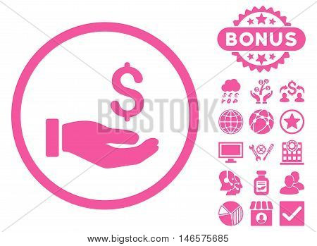Earnings Hand icon with bonus. Vector illustration style is flat iconic symbols, pink color, white background.