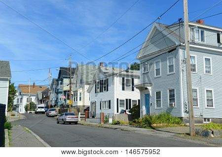 Gloucester Historic Town Center, Massachusetts, USA. Gloucester is the largest city of Cape Ann.