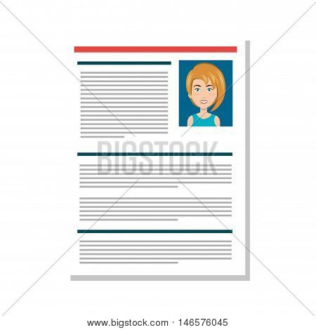 cartoon woman professional curriculum vitae page. human resources. vector illustration