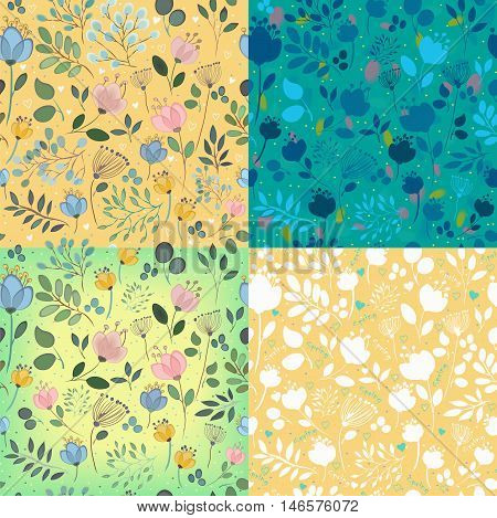 Floral decorative seamless patterns. Watercolor flowers with yellow and green background. Silhouettes of flowers with shades of blue. White flowers with green hearts. Vector illustration.