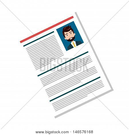 cartoon man professional curriculum vitae page. human resources. vector illustration