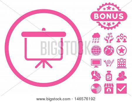 Projection Board icon with bonus. Vector illustration style is flat iconic symbols, pink color, white background.