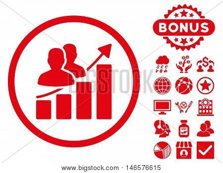 Audience Growth Chart icon with bonus. Vector illustration style is flat iconic symbols, red color, white background.