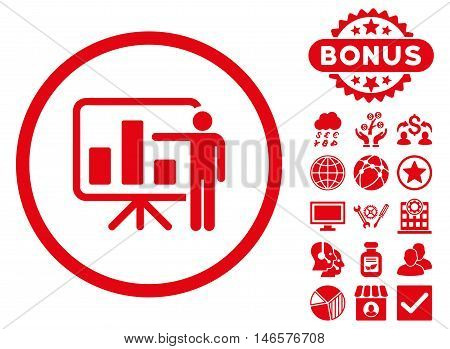 Bar Chart Presentation icon with bonus. Vector illustration style is flat iconic symbols, red color, white background.