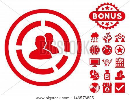 Demography Diagram icon with bonus. Vector illustration style is flat iconic symbols, red color, white background.