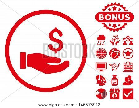 Earnings Hand icon with bonus. Vector illustration style is flat iconic symbols, red color, white background.