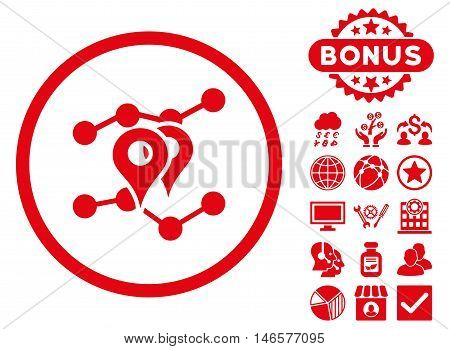Geo Trends icon with bonus. Vector illustration style is flat iconic symbols, red color, white background.