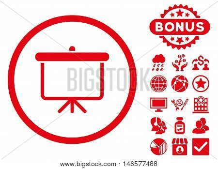Projection Board icon with bonus. Vector illustration style is flat iconic symbols, red color, white background.