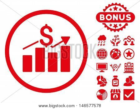 Sales Chart icon with bonus. Vector illustration style is flat iconic symbols, red color, white background.
