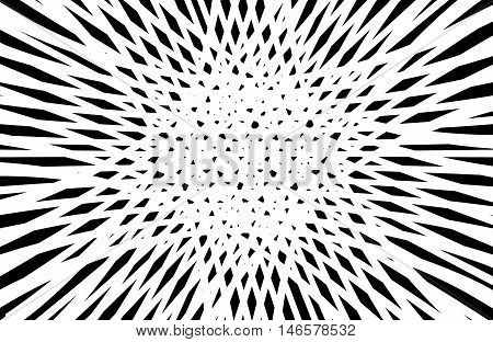 Abstract black and white op art exploding outwards