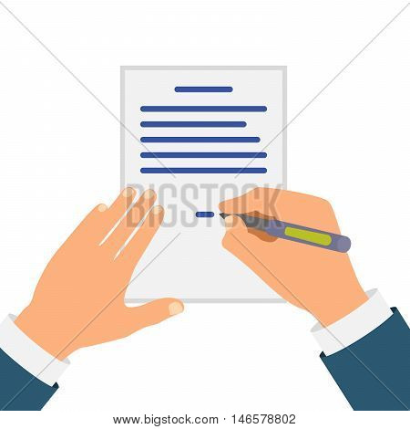 Colored Cartooned Hand Signing Contract Graphic Design on White Background.