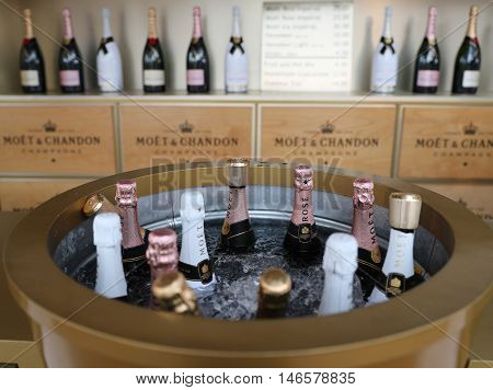 NEW YORK - SEPTEMBER 6, 2016: Moet and Chandon champagne presented at the National Tennis Center during US Open 2016 in New York. Moet and Chandon is the official champagne of the US Open