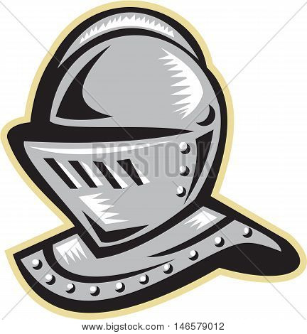 Illustration of a knight armor helmet set on isolated white background done in retro woodcut style.