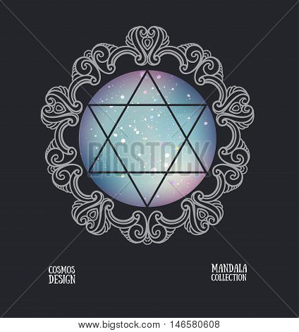 Vector David star with space background and mandala frame. Sacral vector illustration.