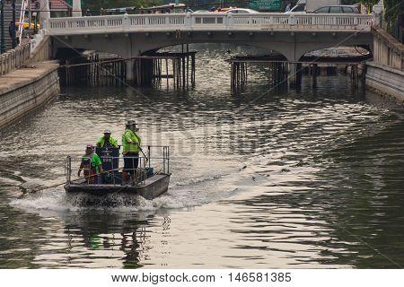 Garbage Collection Boat In Khlong Phadung Krungkasem Canal