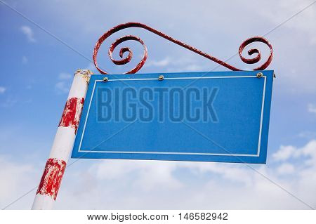 Empty Signage over blue sky background abstract text filling