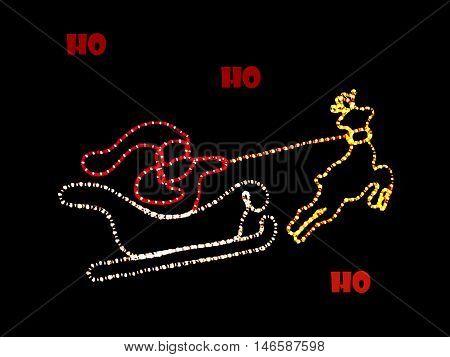 Abstract creative Ho Ho Ho Christmas card greeting scene