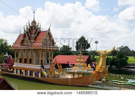 SISAKET THAILAND - JULY 19 : A huge Thai Suphannahong also called Golden Swan or Phoenix boat on JULY 19 2016 at the WatpahSuphannahong Temple in sisaket Thailand