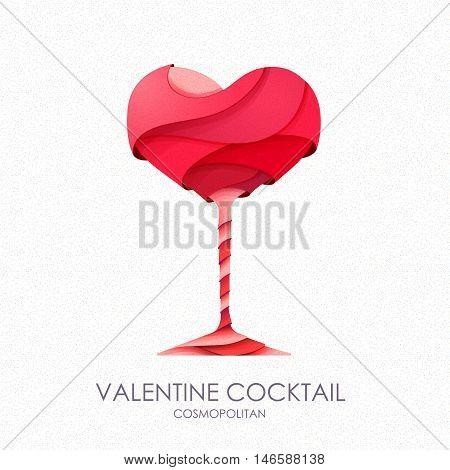 3D valentine cocktail design.Vector icon on white background