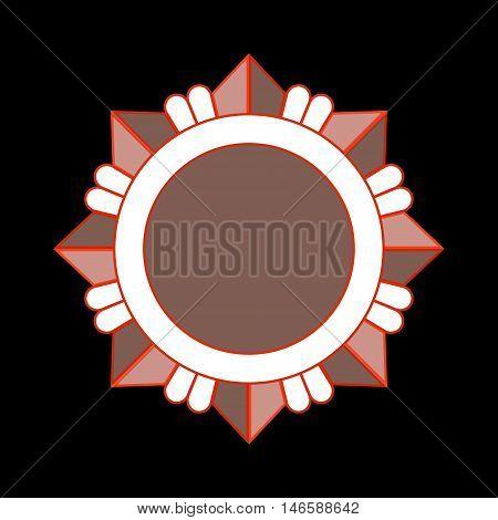 Medal award icon. Bronze star order isolated on white background. Medallion design element. Metallic emblem. Blank for certificate winner decoration. Symbol first success win Vector illustration